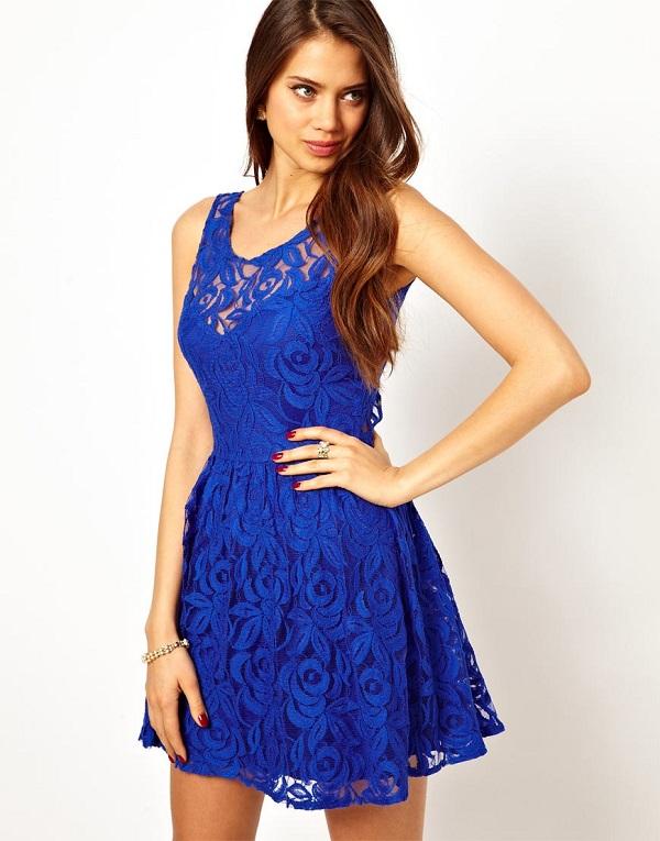 dantelli elbise mavi