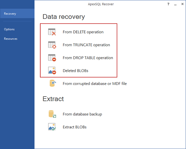 the most appropriate data recovery