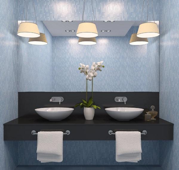 modern banyo aydınlatması